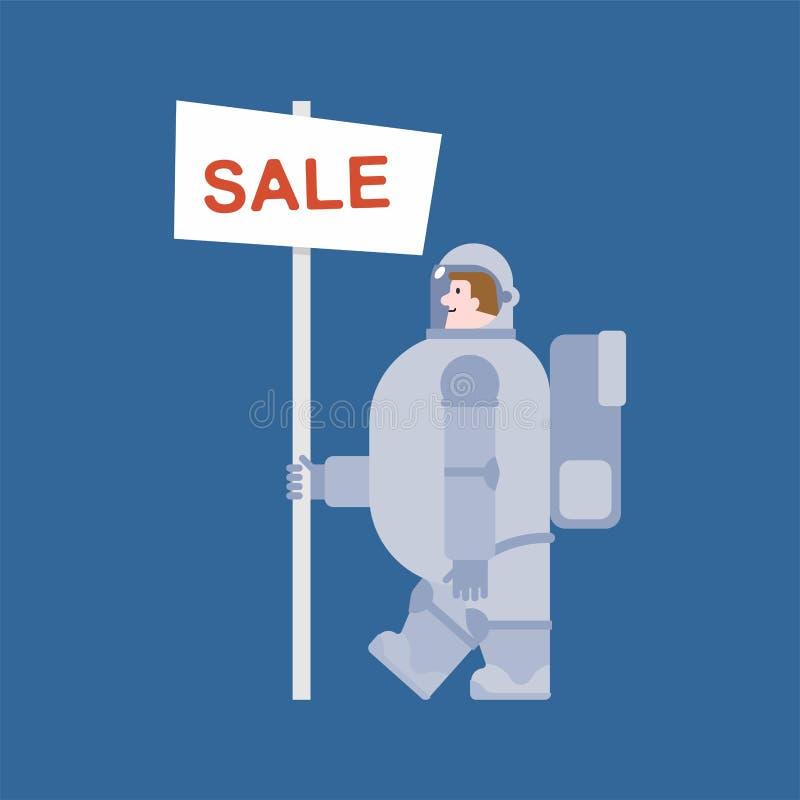 Astronauten- und Verkaufsfahne Kosmonautverkäufer Raumfahrer Vektorkranke lizenzfreie abbildung