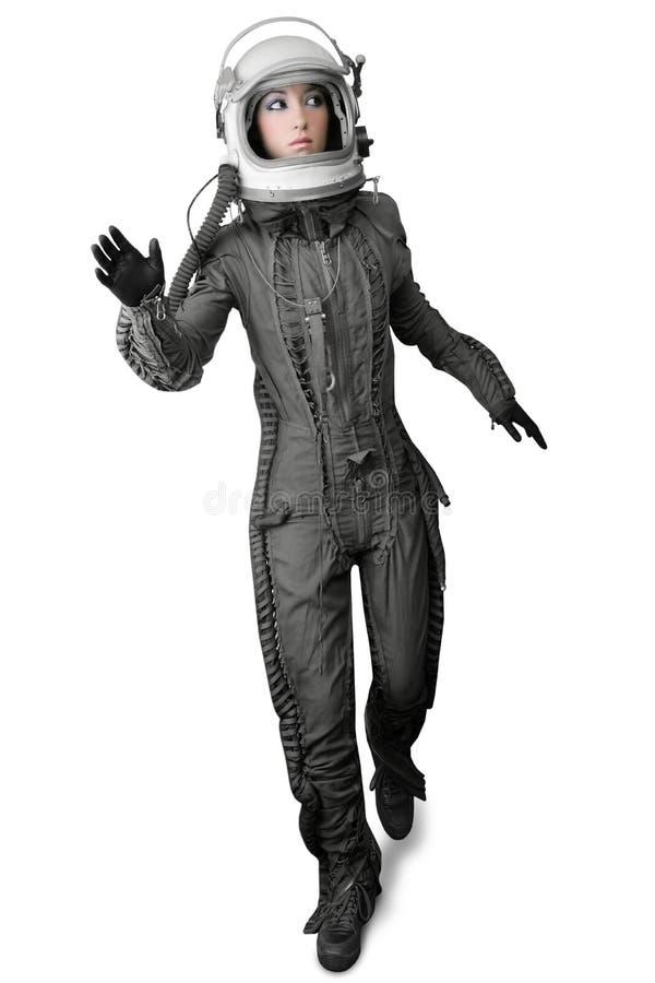 Astronautenart und weisestandplatzfrauen-Platzklagesturzhelm stockbild