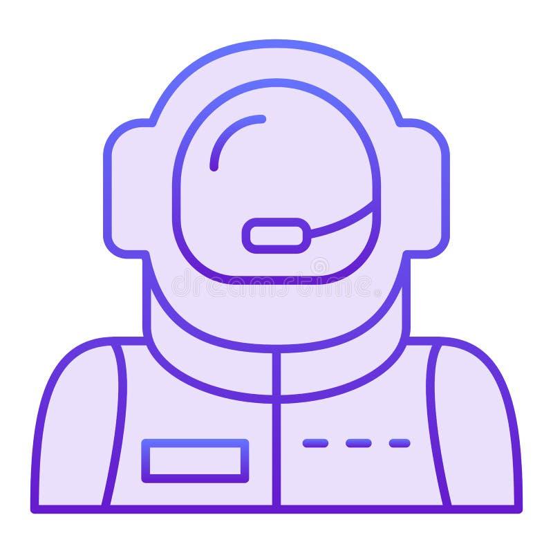 Astronautenavatar vlak pictogram Ruimtevaarders violette pictogrammen in in vlakke stijl De stijlontwerp van de kosmonautgradiënt vector illustratie