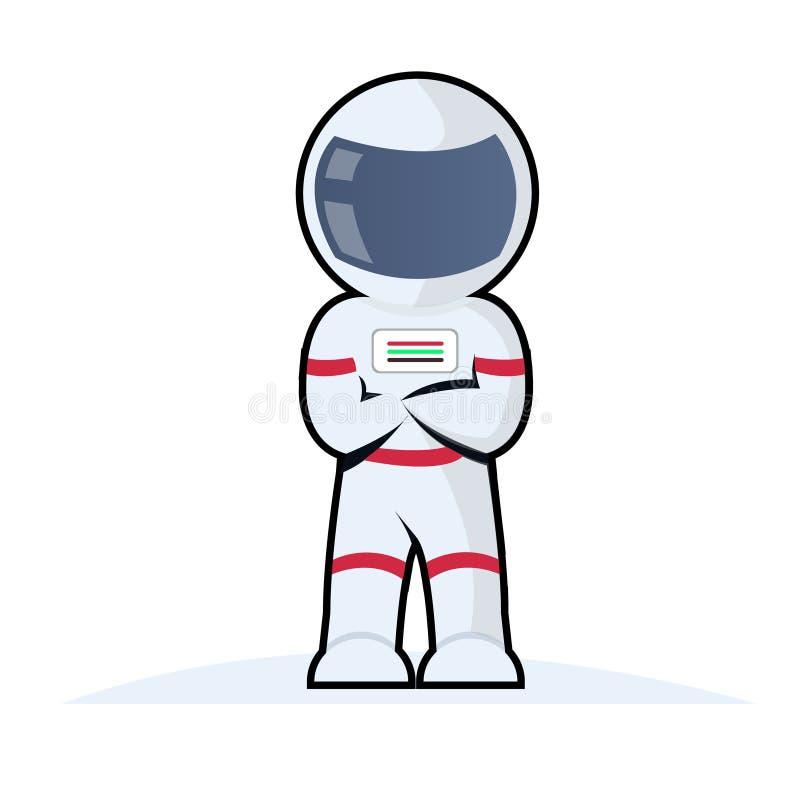 Astronautencharakter mit Sturzhelmentwurf vektor abbildung