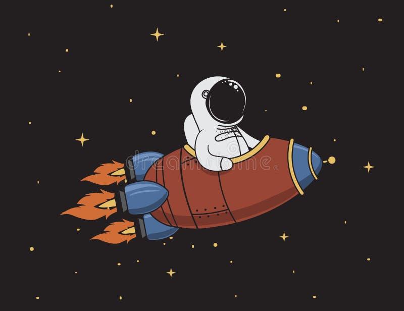 Astronautenfliegen im Weltraum auf Rakete stock abbildung