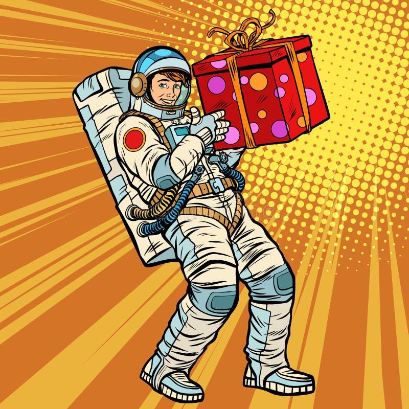 Astronautengeburtstag mit einem Geschenk vektor abbildung