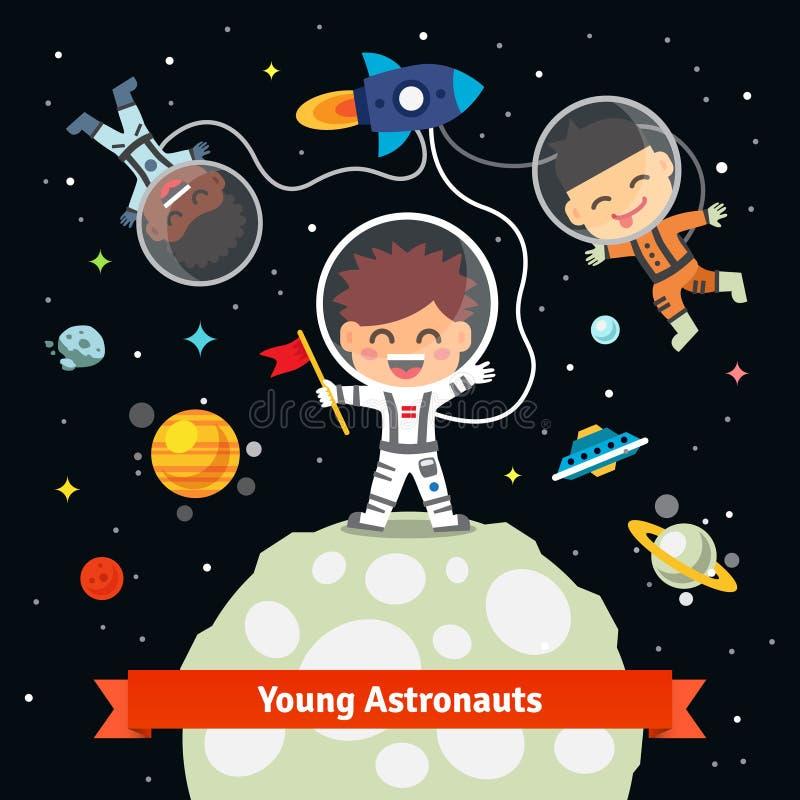 Astronautenjonge geitjes bij de ruimte internationale expeditie stock illustratie