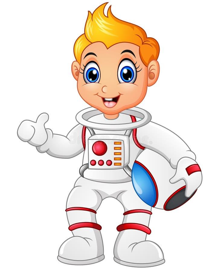 Astronautenkarikatur, die Daumen aufgibt lizenzfreie abbildung