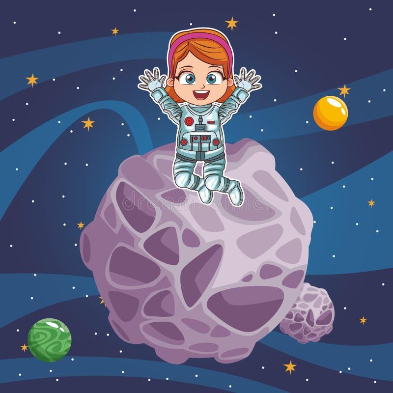 Astronautenmeisje in de ruimte royalty-vrije illustratie