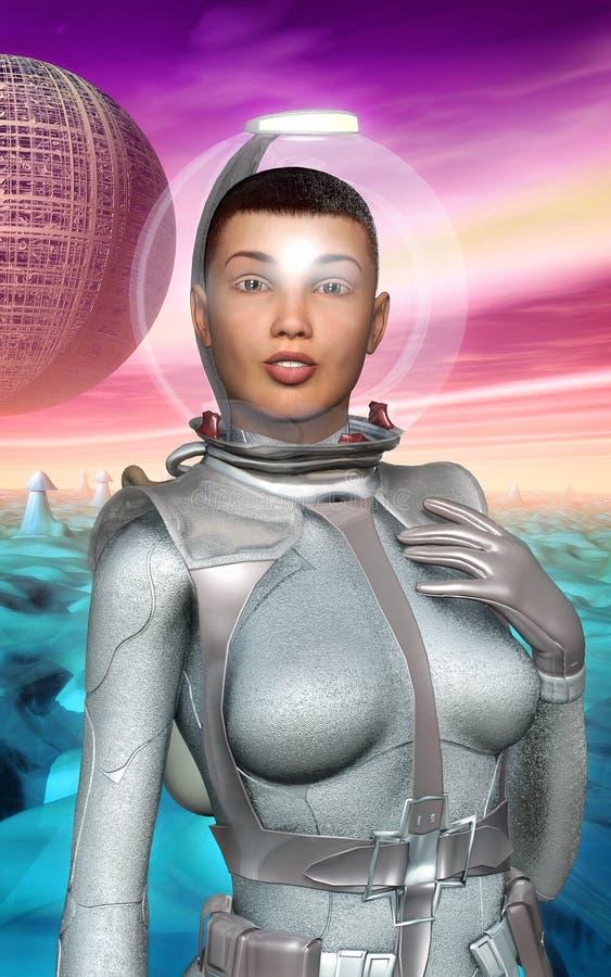 Astronautenmeisje retro op vreemde planeet stock illustratie