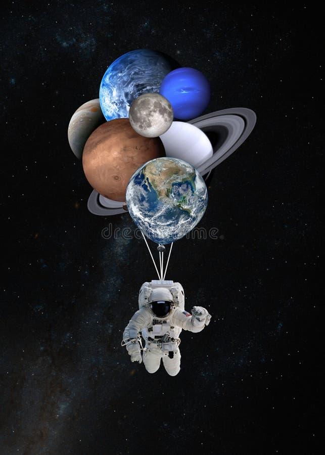 Astronautenraumfahrer mit Planeten formte Ballone im Sonnensystem Elemente dieses Bildes geliefert von der NASA stockfotos