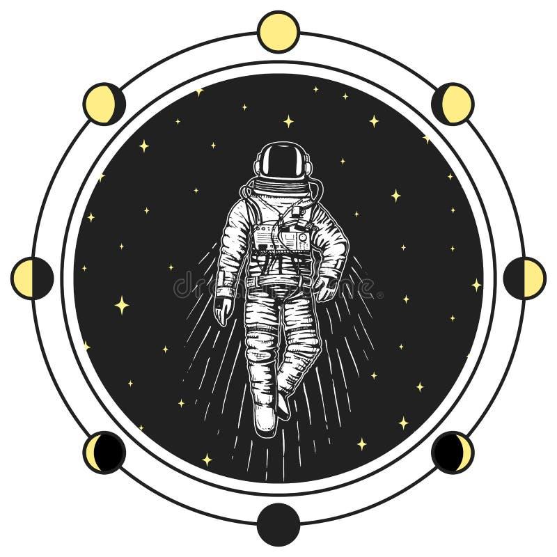 Astronautenraumfahrer Mond teilt Planeten im Sonnensystem in Phasen ein astronomischer Galaxieraum Kosmonaut erforschen Abenteuer stock abbildung