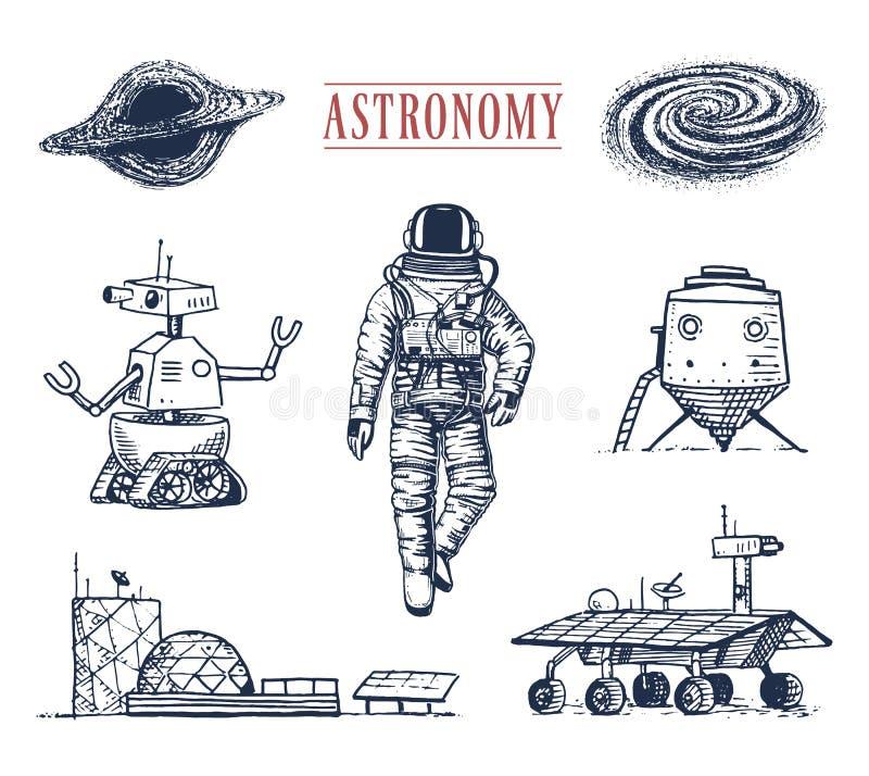 Astronautenraumfahrer Planeten im Sonnensystem astronomische Galaxie Kosmonaut erforschen Abenteuer Gravierte Hand gezeichnet stock abbildung