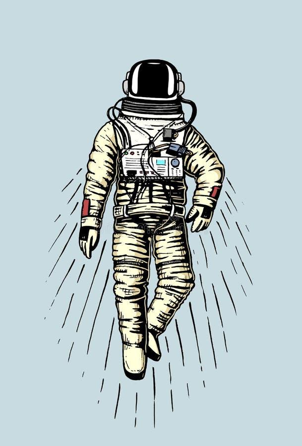 Astronautenraumfahrer Planeten im Sonnensystem astronomischer Galaxieraum Kosmonaut erforschen Abenteuer Gravierte Hand gezeichne vektor abbildung