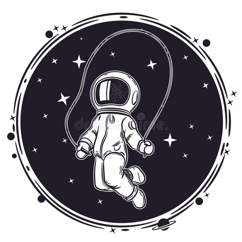 Astronautensprongen met een touwtjespringen Ruimte vectorillustratie Illustratie op het thema van astronomie royalty-vrije illustratie