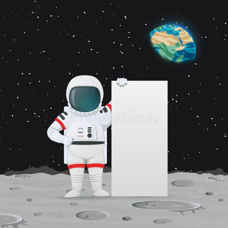 Astronautenstellung auf der Mondoberfläche nahe dem großen Zeichen Weltraum, Erde und Sterne im Hintergrund lizenzfreie abbildung