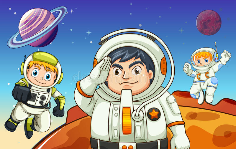 Astronautes dans l'outerspace illustration libre de droits
