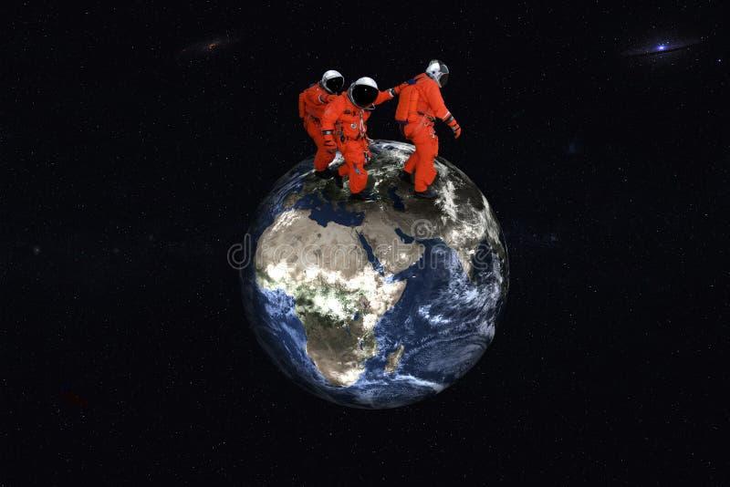 Astronautes de marche géants sur la planète de la terre images stock