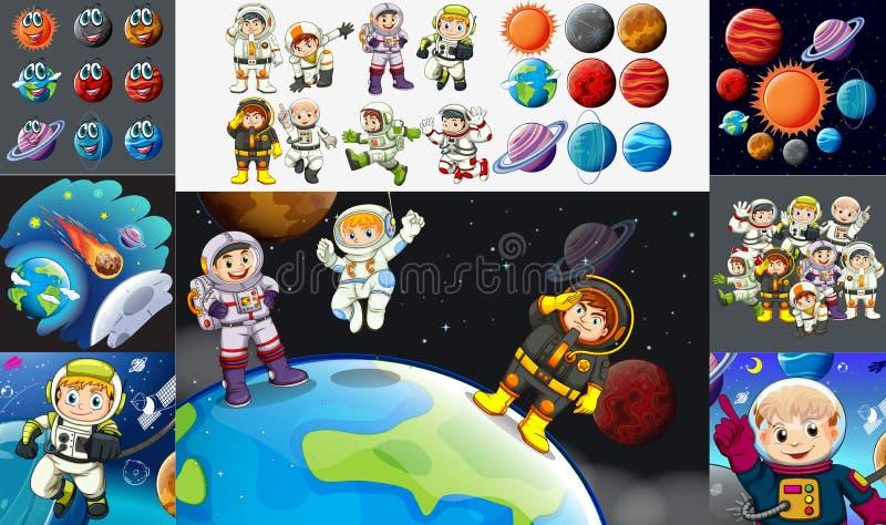 Astronautes et planètes dans le système solaire illustration de vecteur