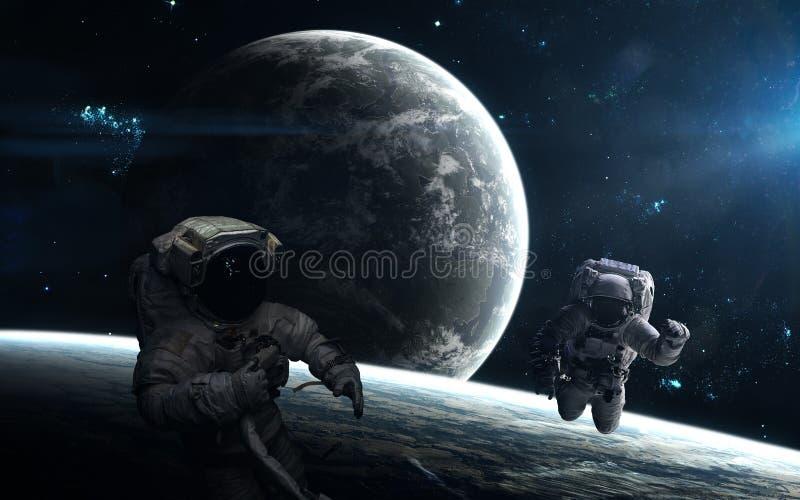 Astronautes, planètes, paysage d'espace lointain à la lumière d'une étoile bleue Des éléments de l'image ont été fournis par la N illustration stock
