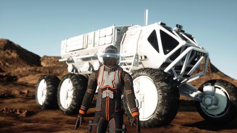 Astronautet går på den främmande planeten Marsinvånaren fördärvar på Science fictionbegrepp framförande 3d royaltyfri bild