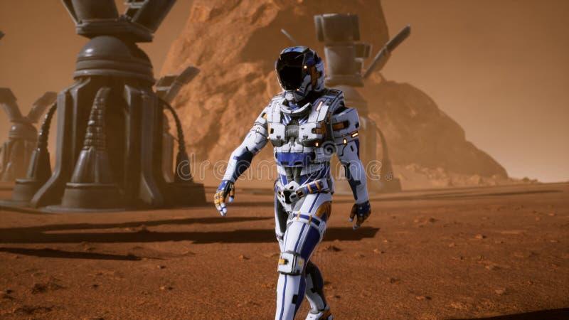 Astronautet går på yttersidan av Mars till och med en stormby förbi de jätte- solpanelerna Panorama- landskap på stock illustrationer