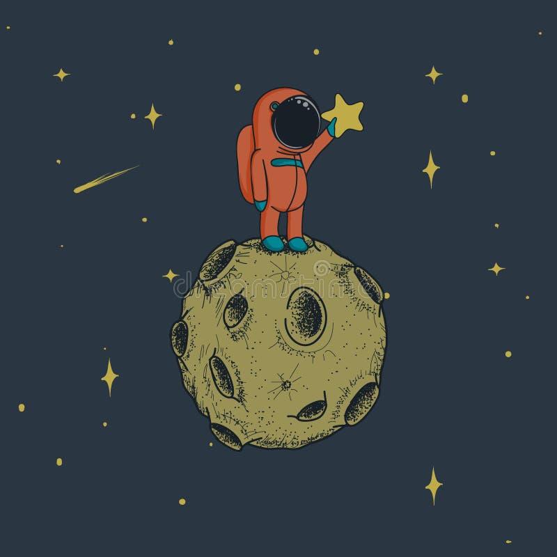 Astronautet håller en stjärna på månen vektor illustrationer