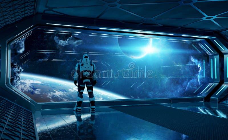Astronautet i hållande ögonen på utrymme för futuristiskt rymdskepp till och med ett stort fönster 3d som framför beståndsdelar a vektor illustrationer