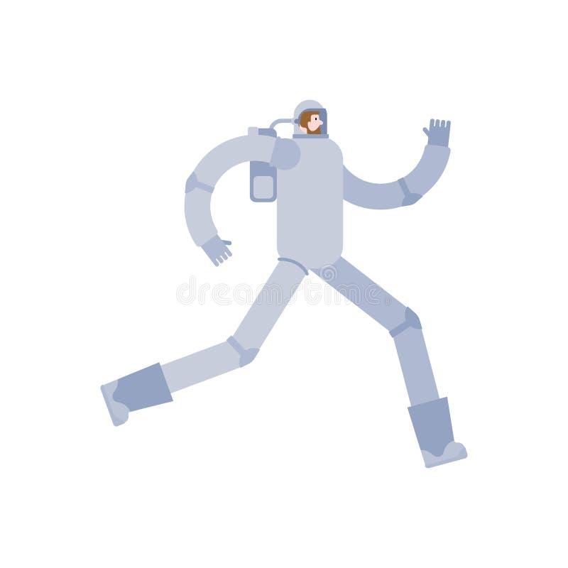 Astronautet kör isolerat astronautflykt kosmonautkörning royaltyfri illustrationer