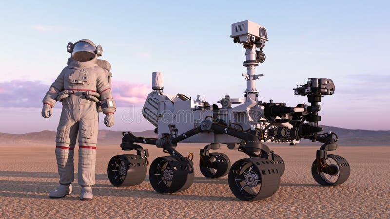 Astronautet med fördärvar roveren, kosmonautanseendet bredvid det autonoma medlet för robotic utrymme på en öde planet, 3D framfö stock illustrationer