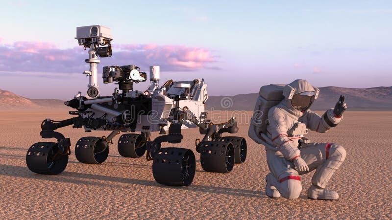 Astronautet med fördärvar roveren, kosmonautet som knäfaller bredvid det autonoma medlet för robotic utrymme på en öde planet, 3D stock illustrationer