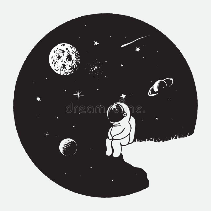 Astronautet ser till universum vektor illustrationer