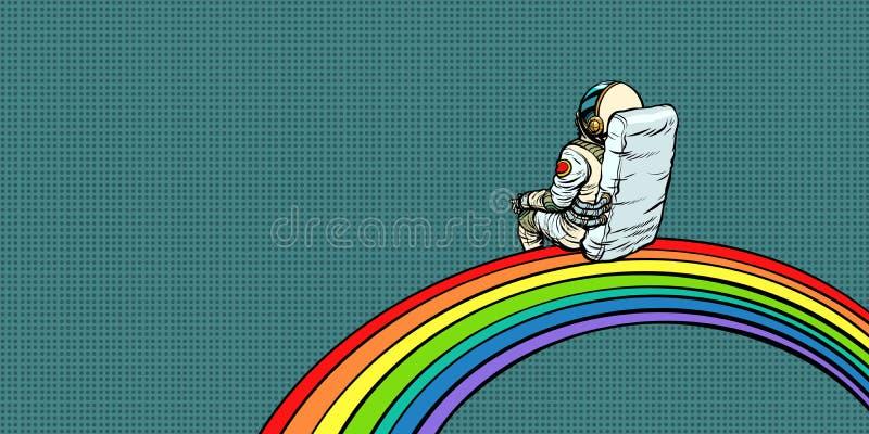 Astronautet sitter på en regnbåge stock illustrationer