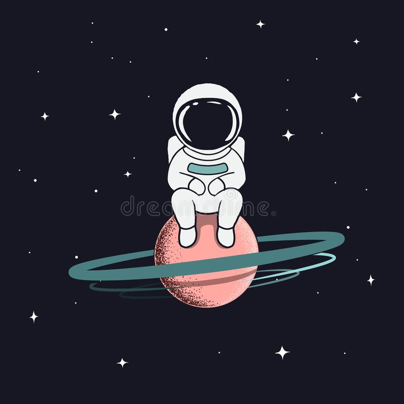 Astronautet sitter på saturn vektor illustrationer