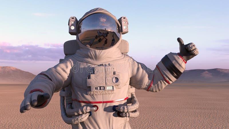 Astronautet som ger tummar med reflexion av, fördärvar upp roveren på hans hjälm, kosmonautet på en öde planet, 3D framför stock illustrationer