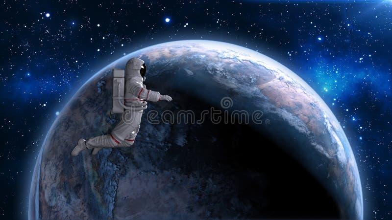 Astronautet som svävar ovanför planetjord, kosmonautet som driver i utrymme, 3D framför royaltyfri illustrationer