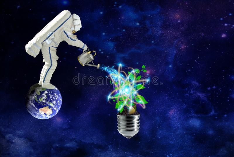 Astronautet växer växter på ren kosmisk energi royaltyfri illustrationer