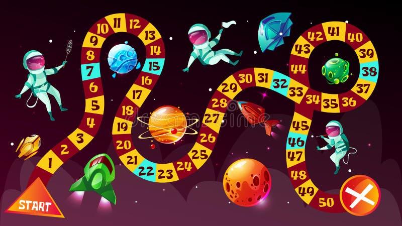Astronauti del gioco da tavolo nell'illustrazione del fumetto di vettore di spazio illustrazione di stock