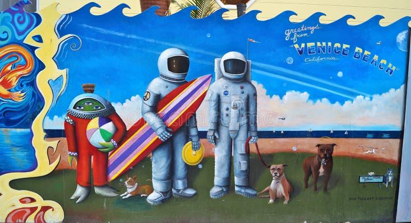 Astronauti ed arte dei graffiti dello straniero immagine stock