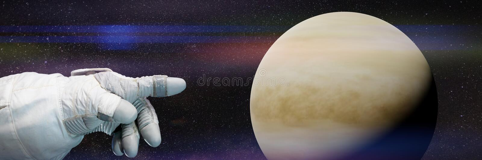 Astronaut pointing to the planet Venus in natural colours 3d illustration, background banner, elements of this image are furnishe. Astronautic background banner vector illustration