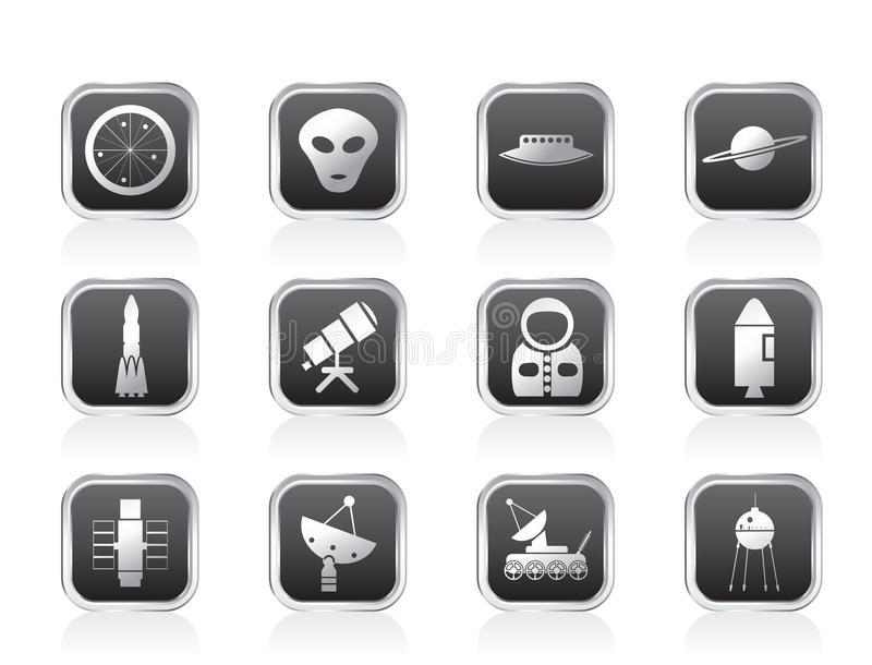 Astronautics and Space Icons. Vector Icon Set royalty free illustration