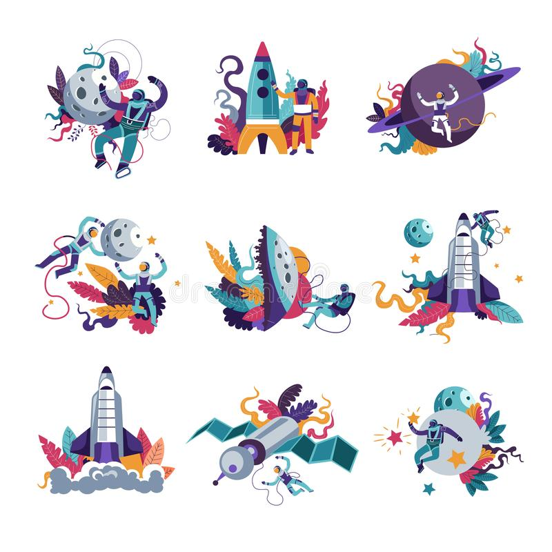 Astronautics space and universe galaxy exploration by people. In costumes vector. Star and moon celestial planet, man in suits, astronauts with rockets stock illustration