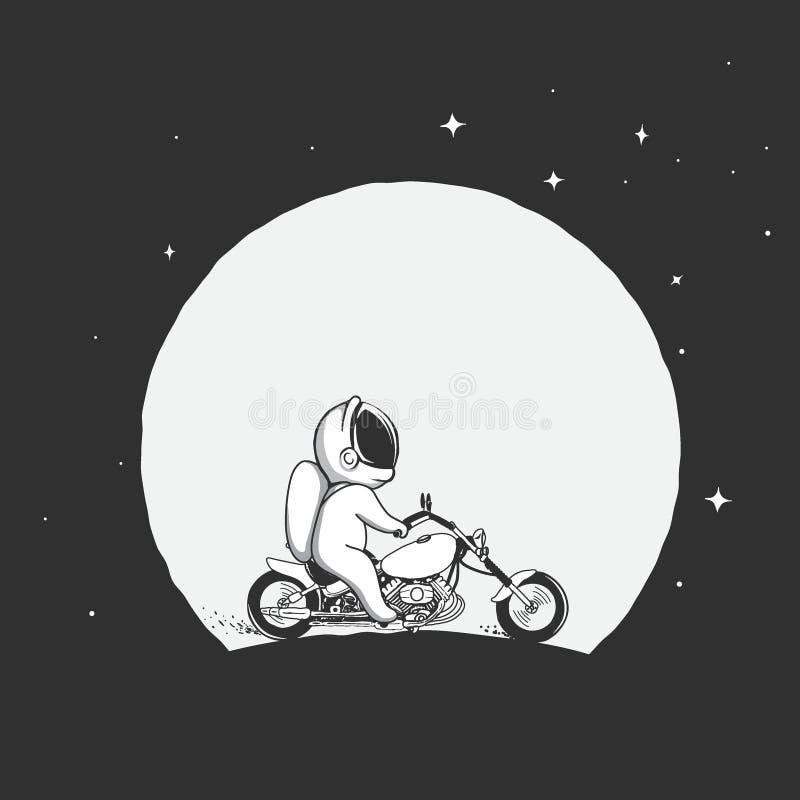 Astronautritter på en motorcykel stock illustrationer