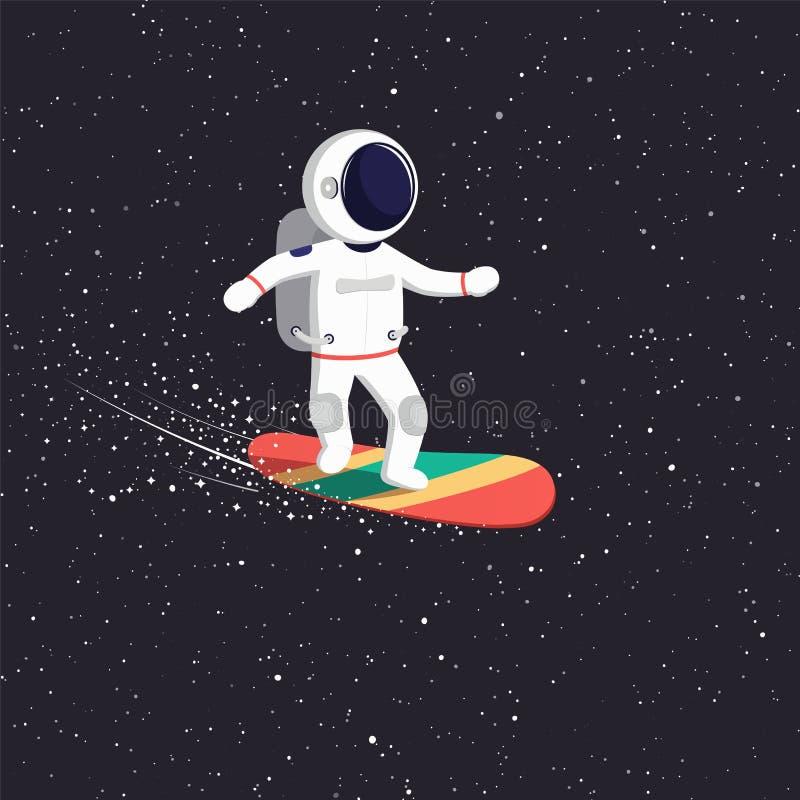 Astronautritter på flygbräde på universum Kosmisk banaastronaut till och med universumet vektor illustrationer