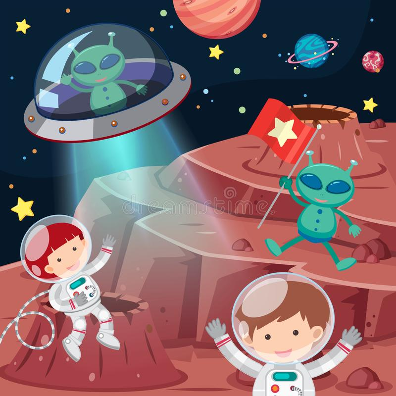Astronauts and aliens exploring space stock illustration