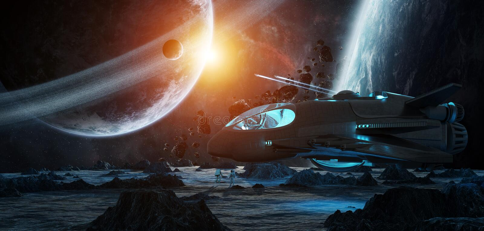 Astronauts exploring an asteroid 3D rendering elements of this i royalty free illustration