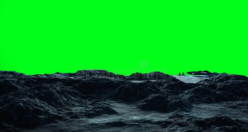 Astronauts exploring an asteroid 3D rendering elements of this i stock illustration