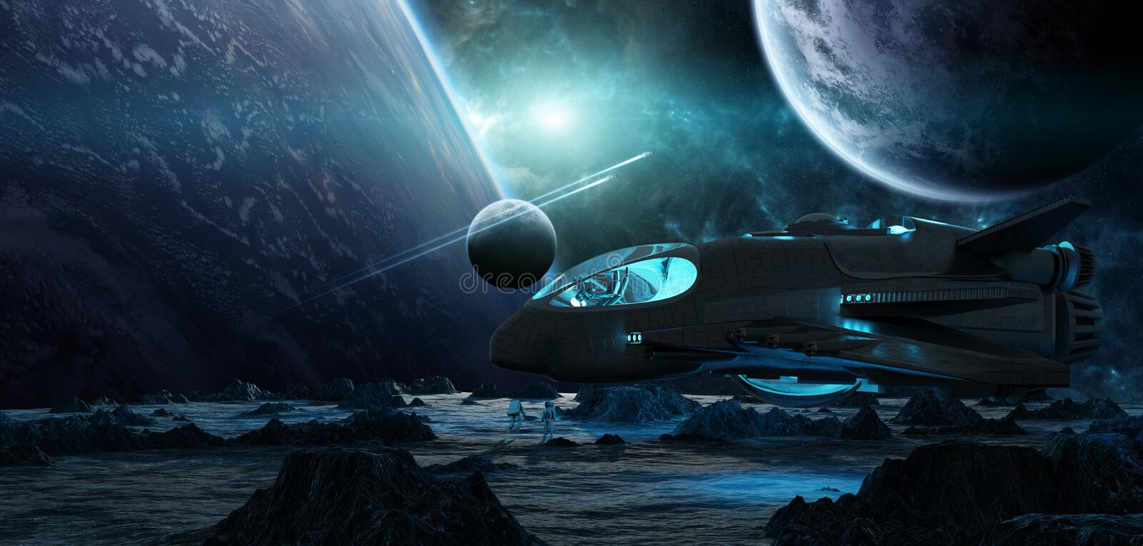 Astronauts exploring an asteroid 3D rendering elements of this i vector illustration