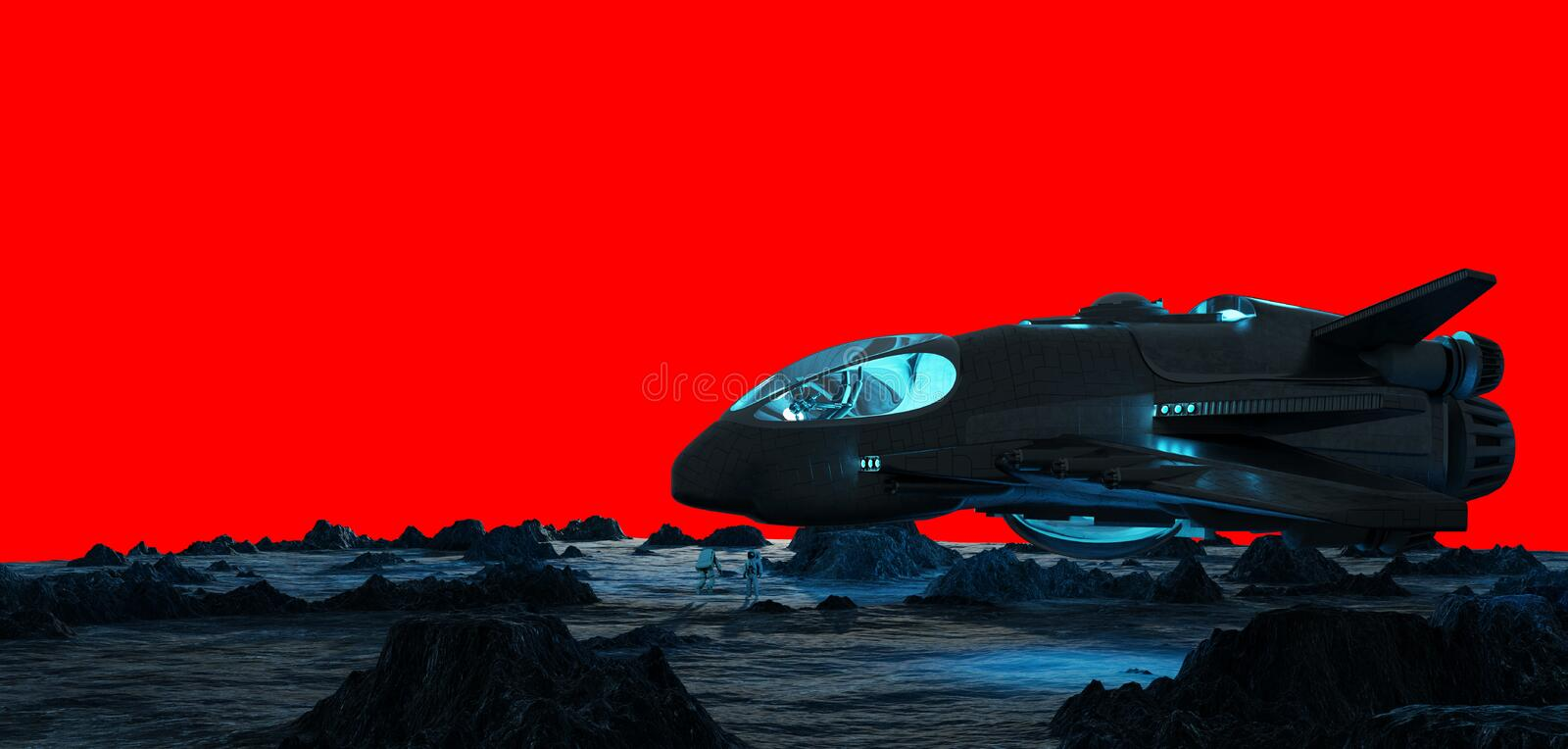 Astronauts exploring an asteroid 3D rendering stock illustration
