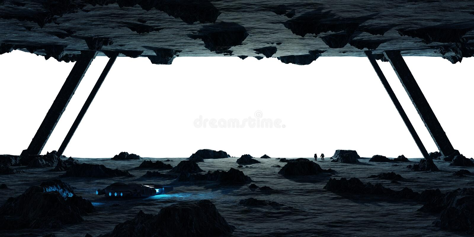 Astronauts exploring an asteroid spaceship 3D rendering elements royalty free illustration