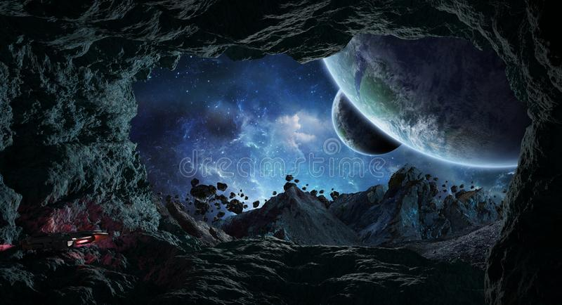 Astronauts exploring a cave in asteroid 3D rendering elements of stock illustration