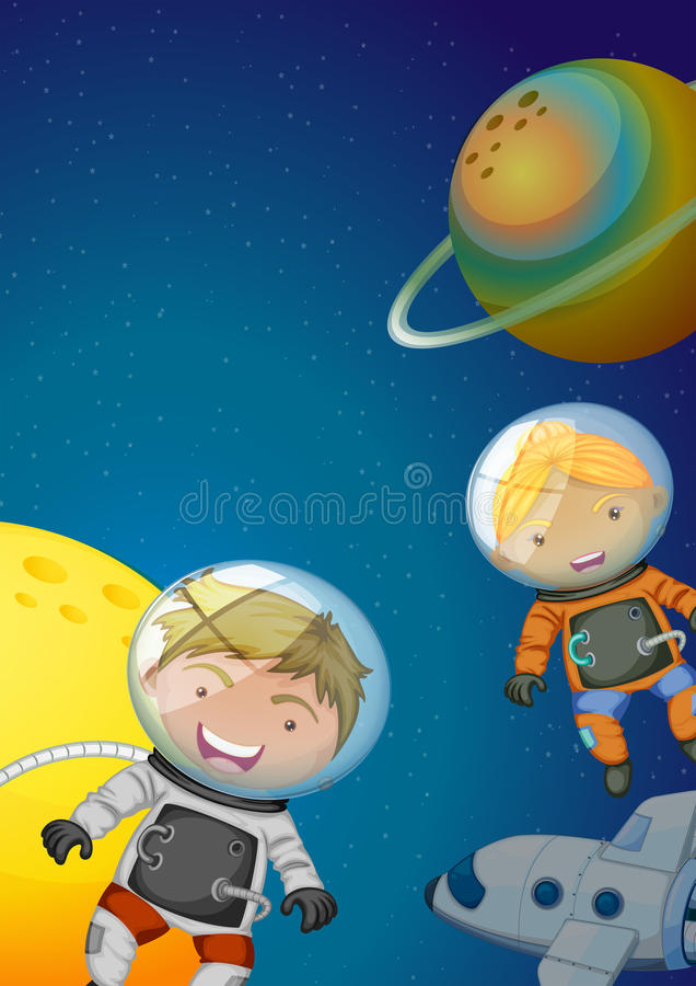 Astronauts exploring the galaxy stock illustration