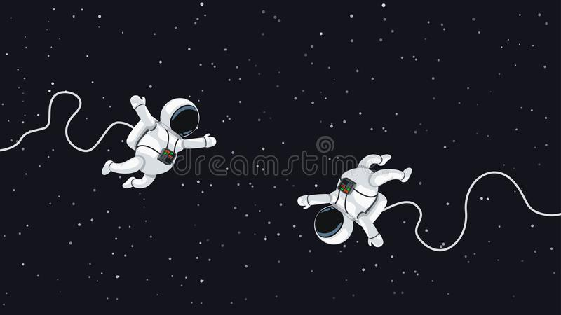 Astronauts flying in space. Illustration of couple cartoon astronauts flying in deep space vector illustration