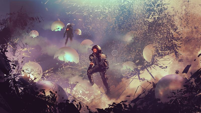 Astronauts found mysterious glowing balls. Digital art style, illustration painting royalty free illustration